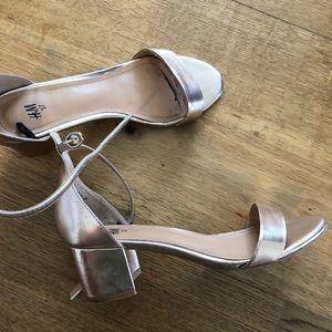 Rose gold block heel sandal